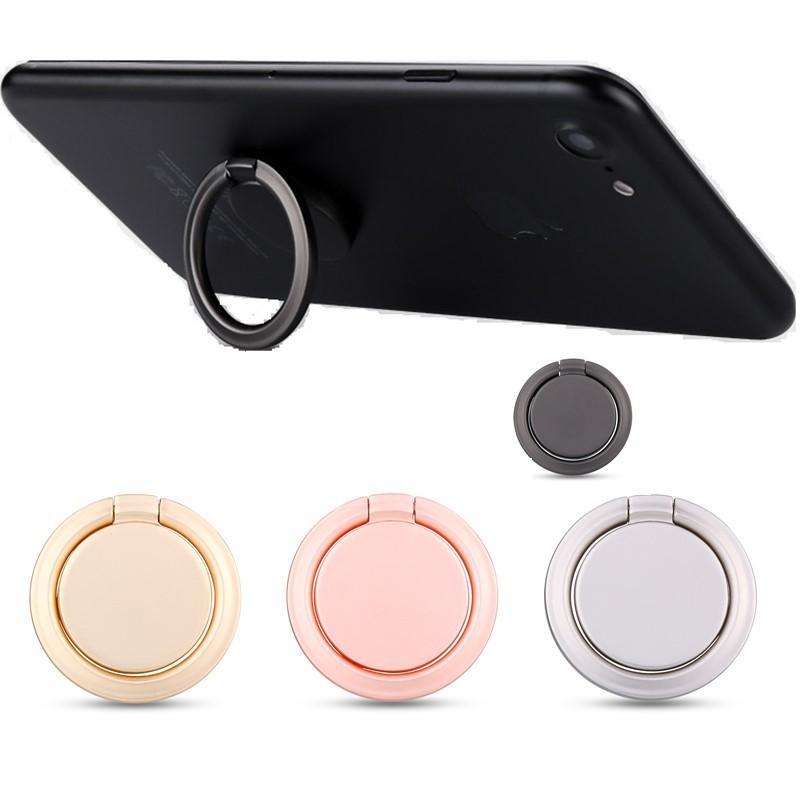 Soporte universal para teléfono con anillo de dedo, forma redonda, 360 ° 180 °, anillo de aleación de zinc, cinta adhesiva fuerte, retención del teléfono celular en soporte magnético