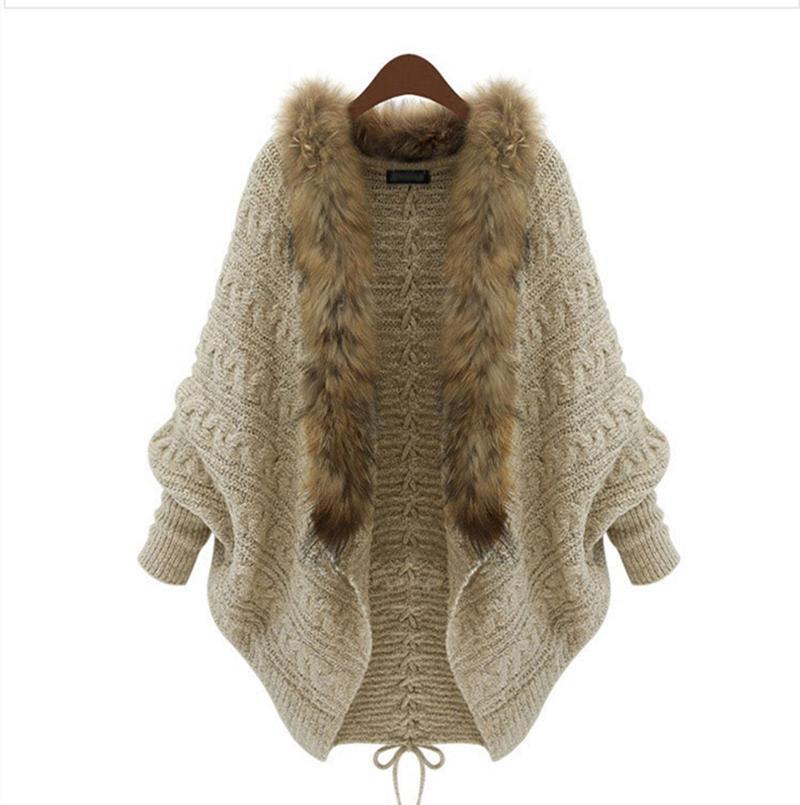 Collar al por mayor-manera de las mujeres suelta la piel de la chaqueta de punto 2015 otoño invierno de las señoras nuevo diseño de la manga del Batwing Abrigo Dropshipping