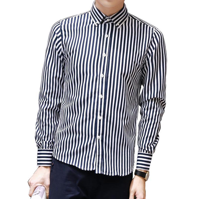 Wholesale- 2016Hot Sales Classic Stripes Autumn Spring Fashion Men Quality Male Clothes Slim Fit Casual Work Boy Shirts Size M-5XL 3 colors