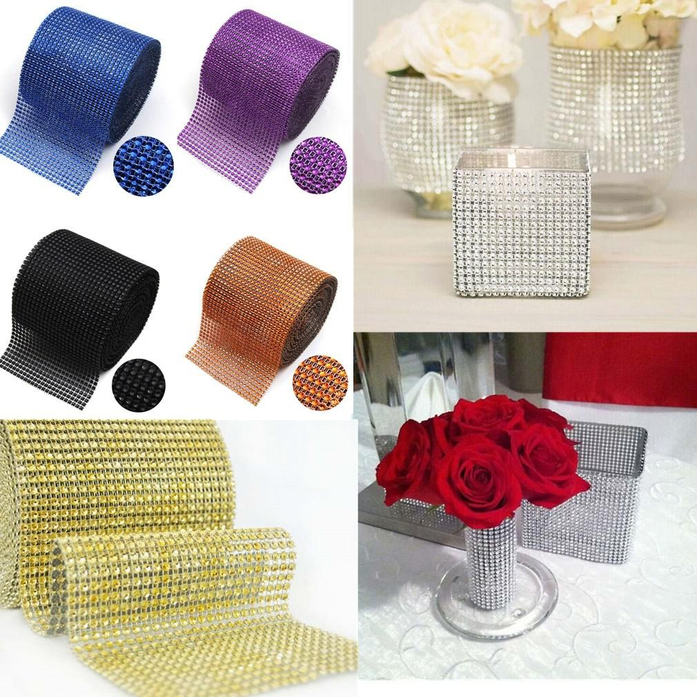 ZLJQ 1Pcs 12cm * 90cm Sparkle Diamond Mesh Rhinestone Wrap Crystal Roll Ribbon Wedding Party Decorations Supplies 8D