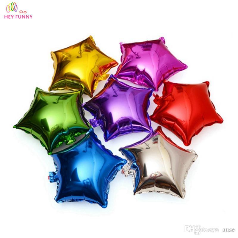 HEY ENGRAÇADO 10 pçs / lote 10 polegada 25 cm balão foil 9 cores amor vermelho Coração folha inflável balões casamento amor novo ano decoração