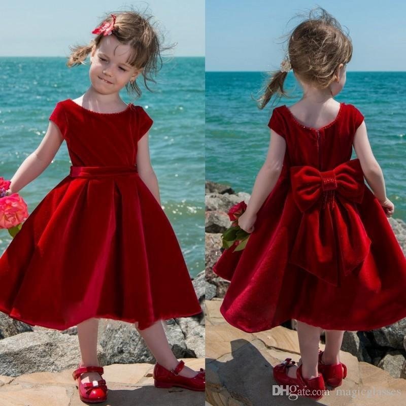 2236ad311 Cute Red Velvet Flower Girl Dress Tea-Length Baby Girls Pageant Dresses  Toddler Kids Party Dress Short Communion Gowns With Big Bow Back