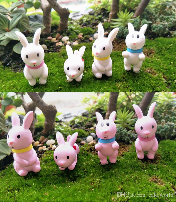 8 pz bianco rosa arco coniglio fata giardino miniature figurine terrario ornamenti casa bonsai decor muschio micro paesaggio