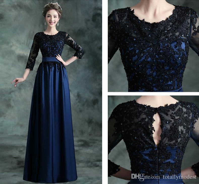 Navy Blue Long Modest Bridesmaid Dresses