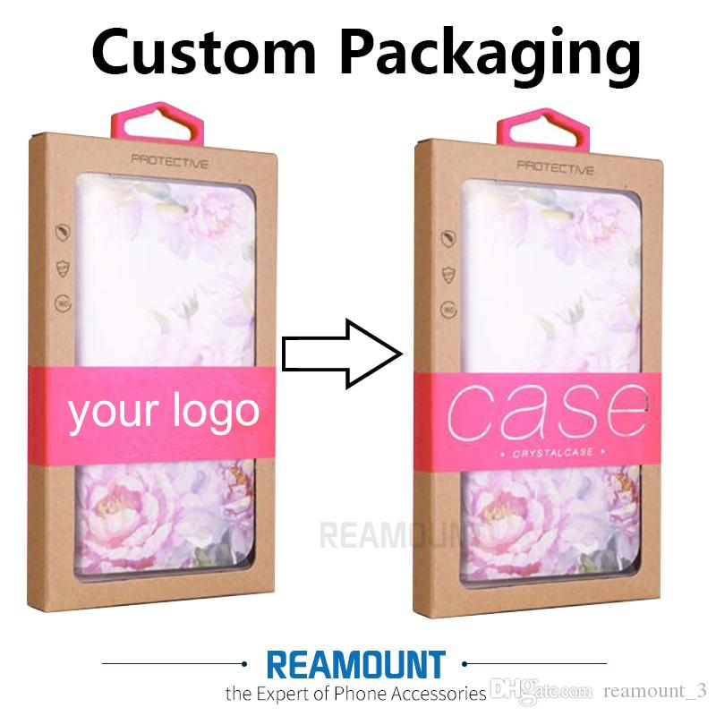 200pcs kraft paper phone case boxes packaging,Black Retail Package window boxes For mobile phone case