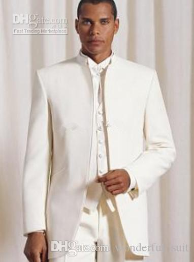Stand Collar Ivory Groom Tuxedos Groomsmen Men Wedding Suits Best man Suits Prom Clothing (Jacket+Pants+Vest+Tie) BM:697