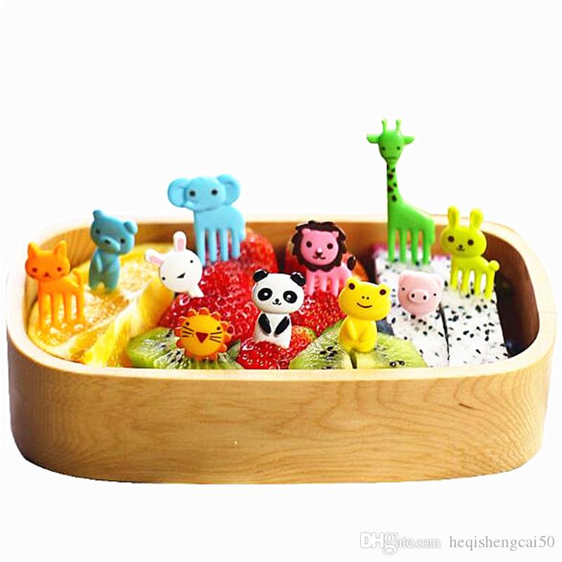 10 pcs/set Animal Fruits Fork Plastic Animal Farm Mini Cartoon Fruit Fork Sign Fruit Toothpick Bento Lunch For Children