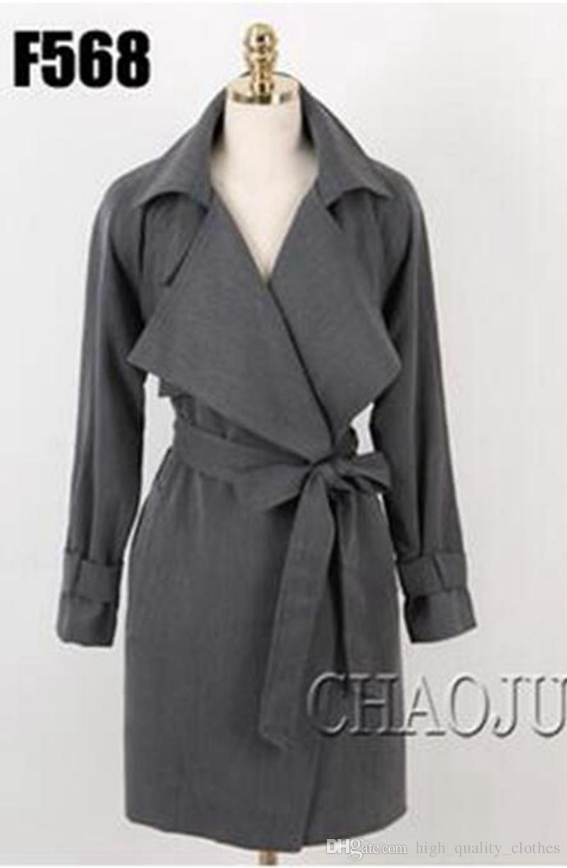 Le donne in primavera e in autunno moda tempo libero elegante bello lungo e sottile trench coat maglia larga / S-4XL