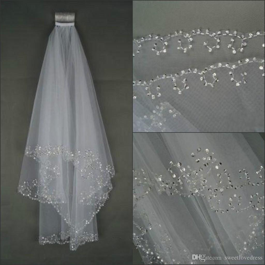 Gelin Veils Ucuz Yumuşak Tül Iki Katlı Dirsek Gelin Veils Boncuklu Kenar Düğün Olaylar Gelin Aksesuarları için Beyaz Fildişi Veils