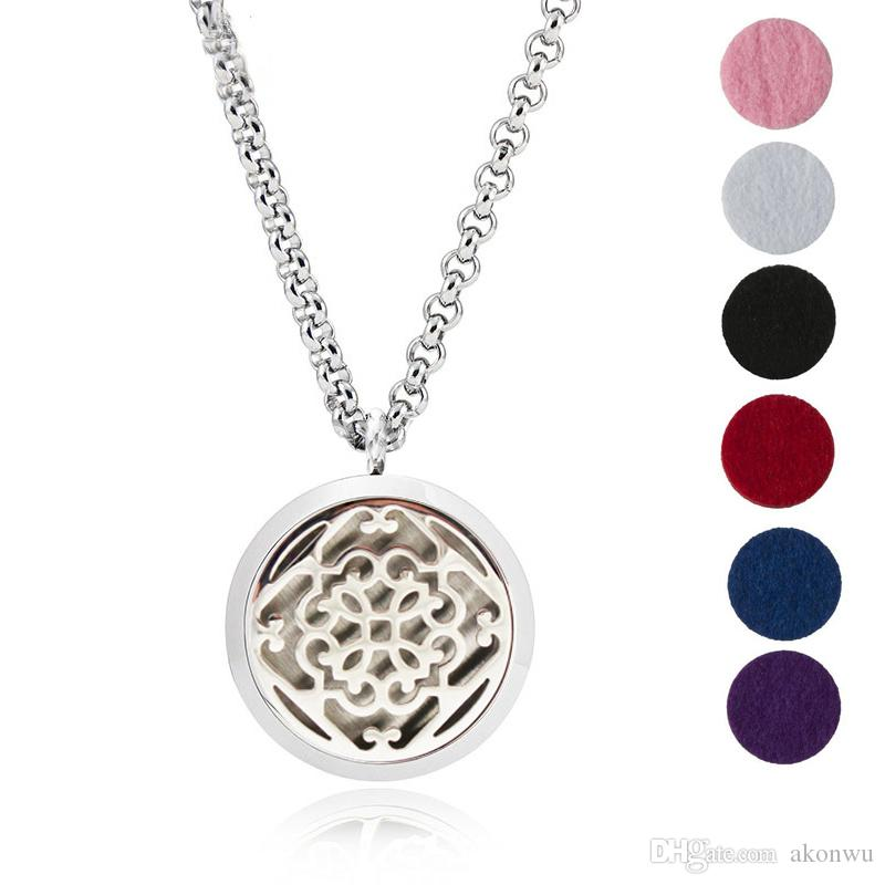 """Essential Oil Diffuser Necklace Aromatherapy Jewelry-30mm Hypoallergenic 316L Stainless Steel With 24""""Chain And 6 Washable Pads YB-9"""