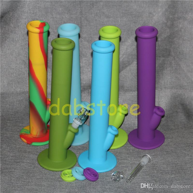 Accessoires de fumeur en verre de couleurs différentes Accessoires en silicone Tuyaux en silicone Eau de silicone Bang bong en verre en stock
