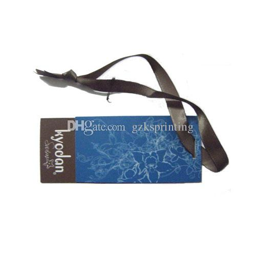 Custom hang tags with ribbon strings Swing tags printing matt finish in high quality hole punch Hangtags for clothing bags shoes cheap price