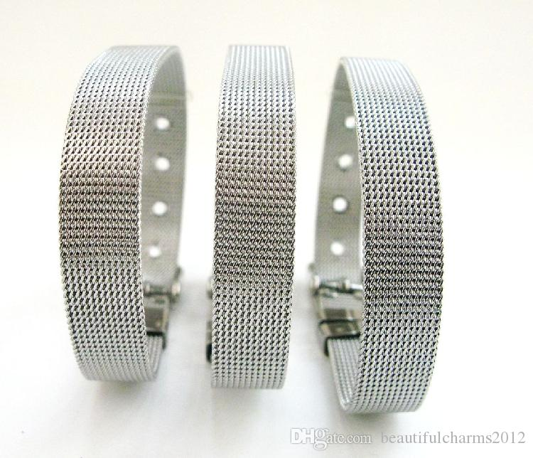 (20,30)pcs/lot 8x210mm Stainless Steel wristband bracelet fit for 8mm slide letters , diy charms fashion jewelrys