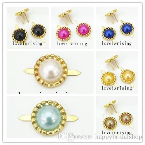 """13 colores-100pcs chapado en oro Brads Pearl 1/2 """"(12 mm) de diámetro sujetador de papel para el banquete de boda wedding invitaciones decoración"""