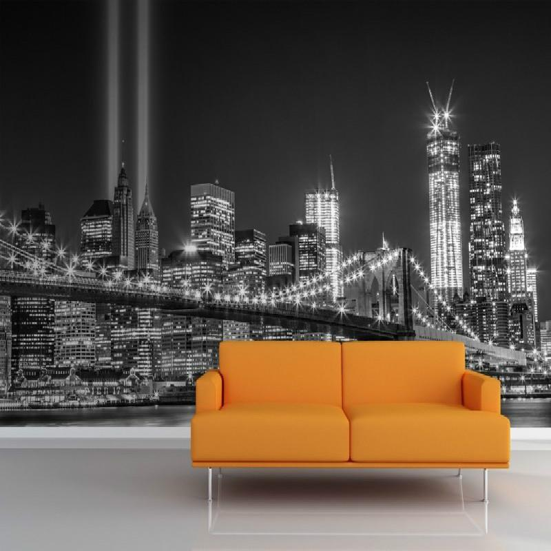Toptan-Mural Greyscale NY Ticaret Merkezi Işıkları Duvar Duvar Fotoğraf Kağıdı 3D Mural Duvar Kağıdı Ünlü Şehir Binası Backdrop