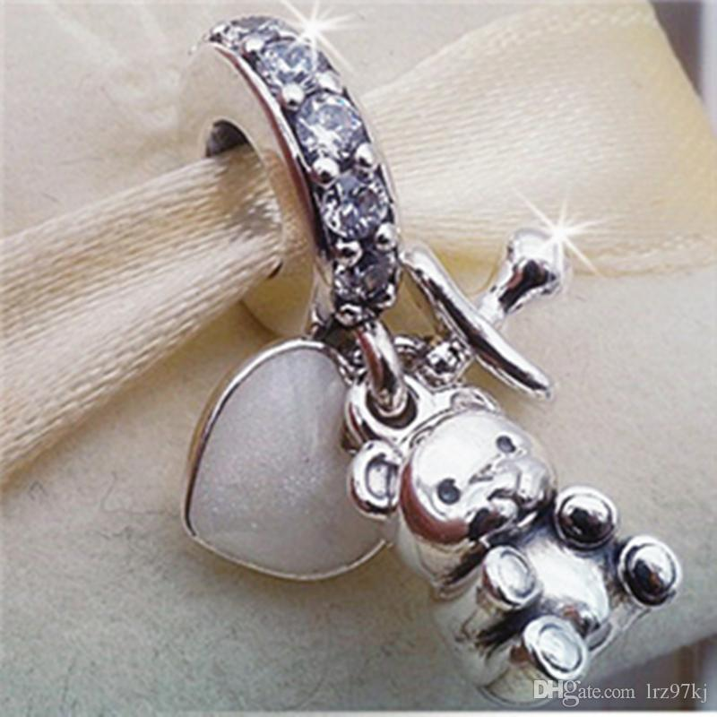 2017 Mother's Day 925 Sterling Silver Baby Treasures Dangle Charm Bead with Cz Fits European Pandora Jewelry Bracelets
