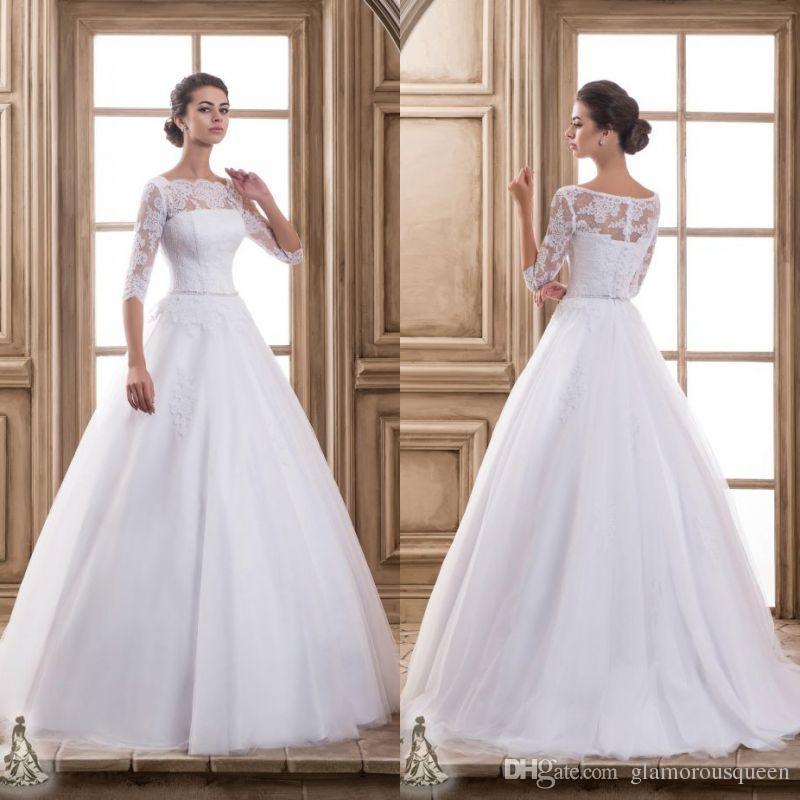 Vestidos Noiva China Vestidos De Casamento Do Vintage Barato Vestidos De Noiva Ilusão Pescoço Até O Chão Meia Manga Primavera Princesa Branco Organza