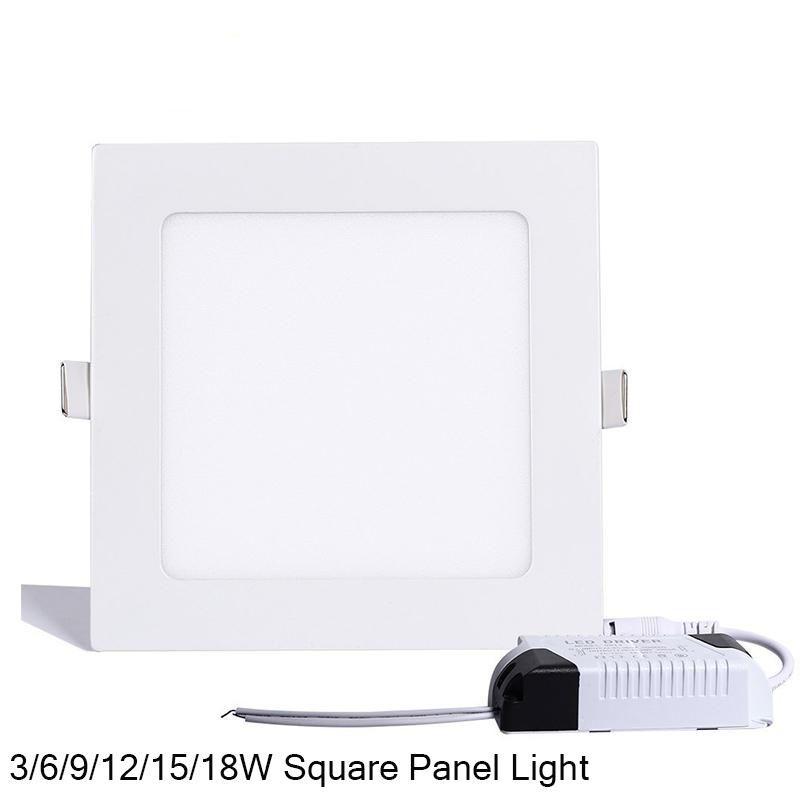 Luz do painel do diodo emissor de luz do quadrado do dimmable SMD 2835 3W 9W 12W 15W 18W 21W 25W 110-240V LED de baixa lâmpada SMD2835 Downlight + motorista