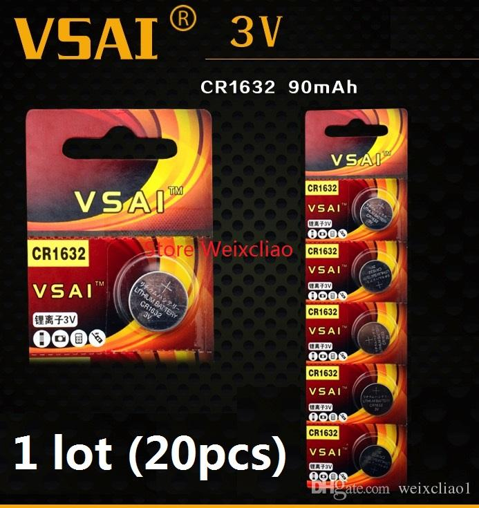 20pcs 1 lot CR1632 3V lithium li ion Button Cell Battery CR 1632 3 Volt li-ion coin batteries VSAI Free Shipping