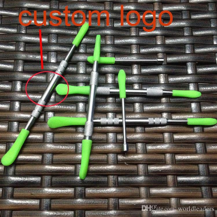 OEM logo en acier inoxydable outil de tamponnage avec pointe de silicone outil dabber sec stylo vaporisateur dabber dabber Cannon Skillet cire huile atomzier