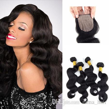 Brasilianische Körperwelle Silk Basis Schließung Mit Bundles 8A brasilianischen Jungfrau-Haare Schließung Top Silk Base-Spitze-Schliessen mit Bundles