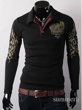 Hot Mens Tees Polo T-Shirt primavera abbigliamento L'aquila stampa Cheap Uomo Outwear moralità risvolto manica lunga T-Shirt Spedizione Gratuita