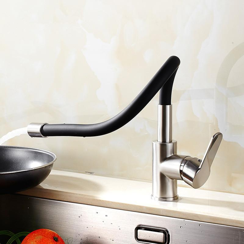 Contemporary Chrome Finish Solid Brass Spring Kitchen Faucet & Rotating faucet & Mixer taps Pull Down Kitchen Faucet Taps