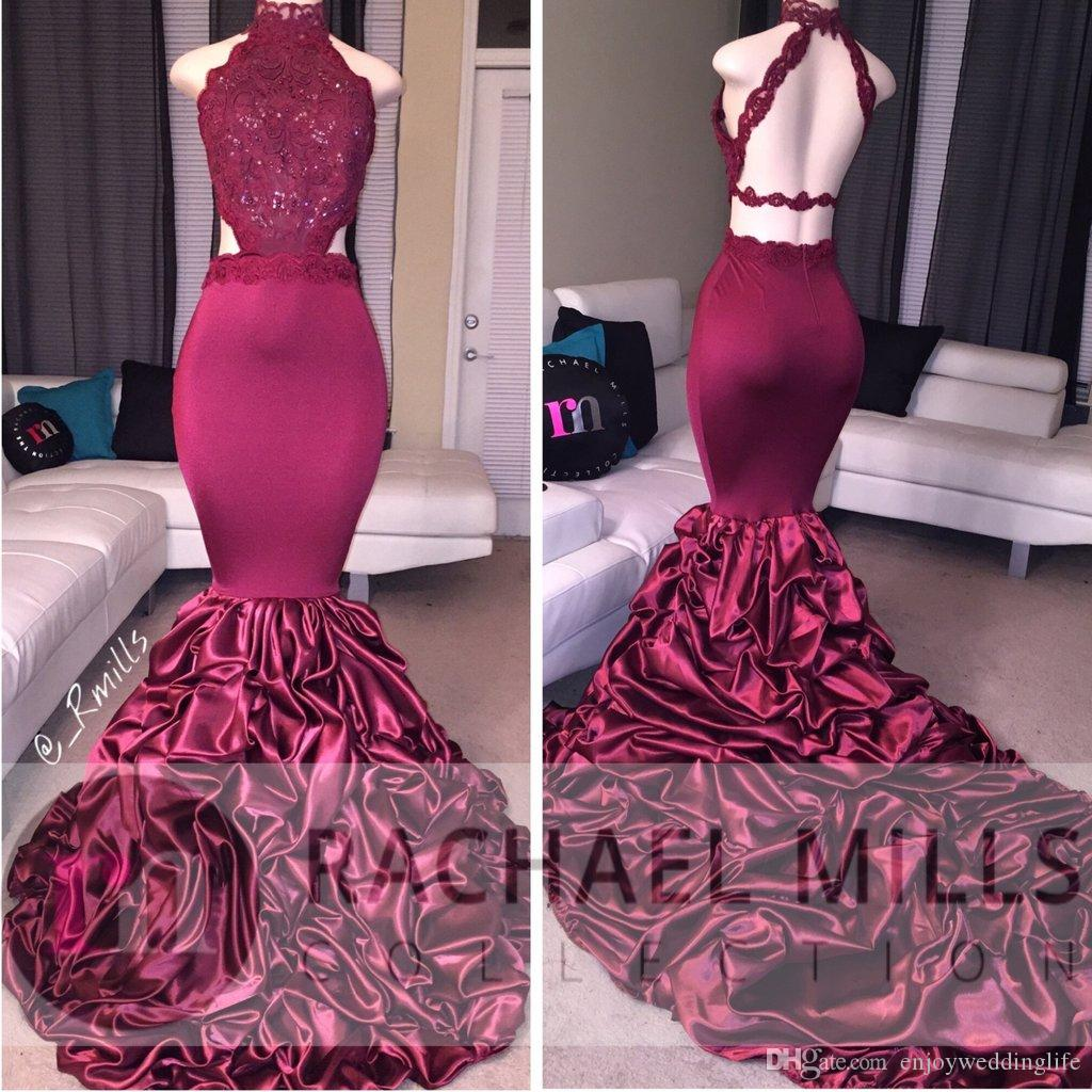 Burgundy High Neck Lace Sequins Prom Dresses 2017 Sexy Mermaid Backless Ruffles Tiered Skirts Evening Dresses Royal Blue Long Party Wear Prom Dresses