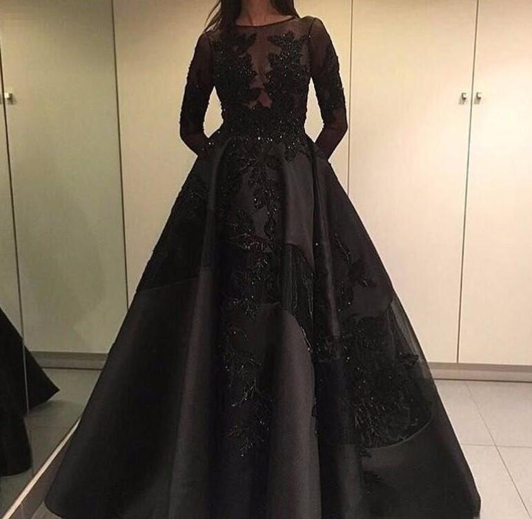 Modeste Soirée Formelle Robes De Célébrités Avec Train Détachable Dentelle Noire À Manches Longues Arabe Dubaï Mode Robes De Soirée De Bal