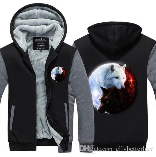 Nouvelle qualité Pull Fashion Épaissir Zipper Toison Yin-Yang Loup imprimé Hoodies hommes 3d homme Hoodies hiver marque Sweats Vestes