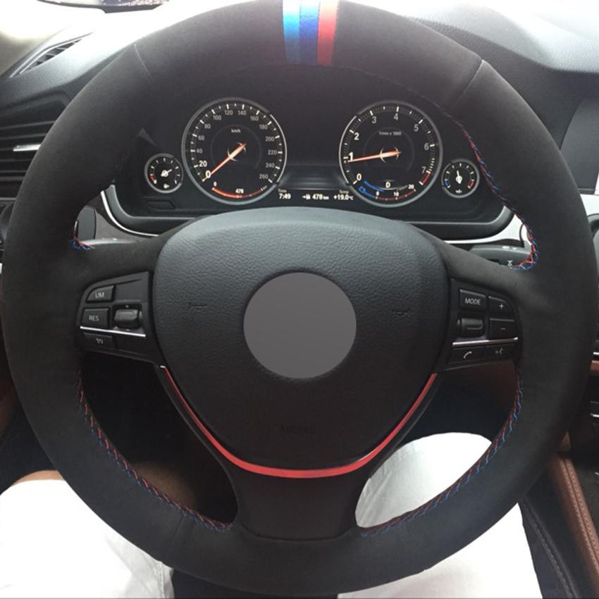 Black Suede DIY Handgenähter Auto Lenkradbezug für BMW F10 2014