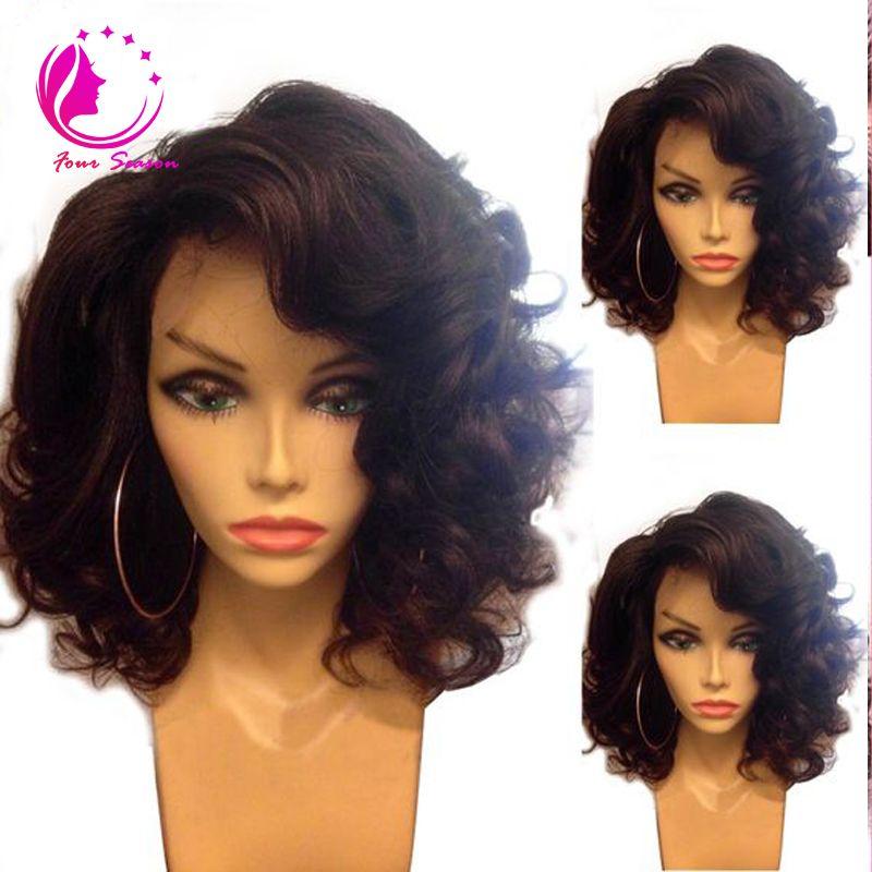 Brazilian virgin human hair bob wigs short natural wave glueless Lace front short bob wigs for black women baby hair on sale