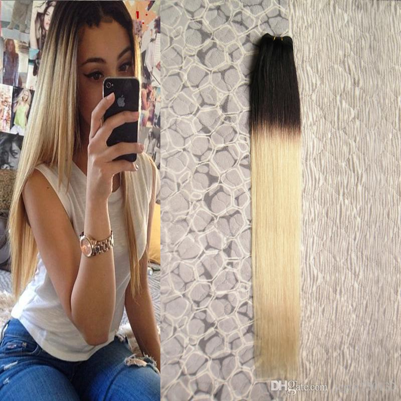 T1B / 613 ombre weave hair 금발 브라질 머리 엮어서 100g brazilian straight hair weave bundles 1 PCS