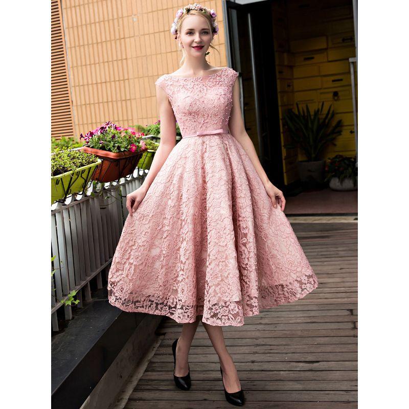 Sweety Pink Lace Prom Dresses A Line Bateau Capped Sleeve Bandage ...