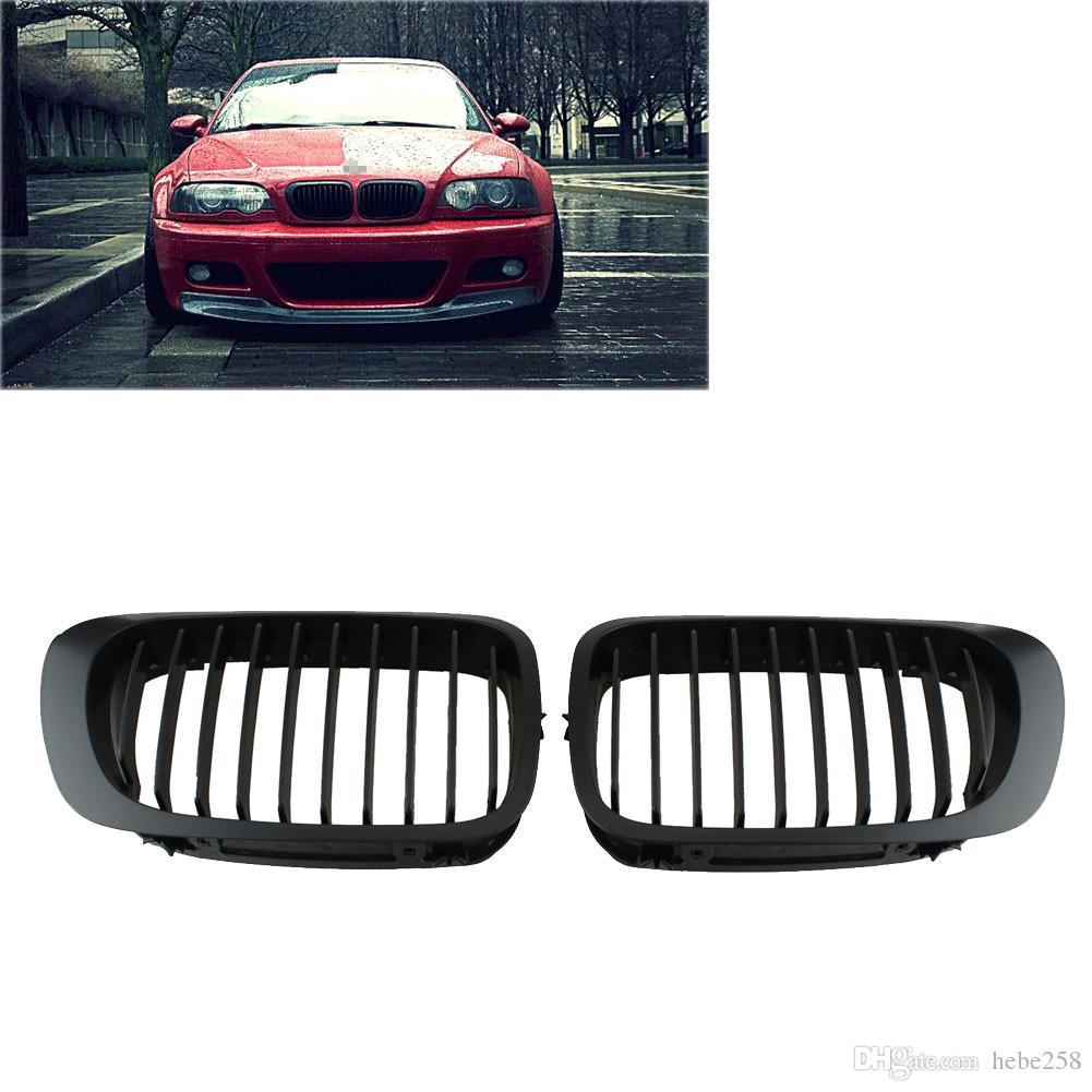 Front Carbon Fiber Bumper Grille Grill For BMW E46 Cabrio 3-Series 2DR 1998-2002