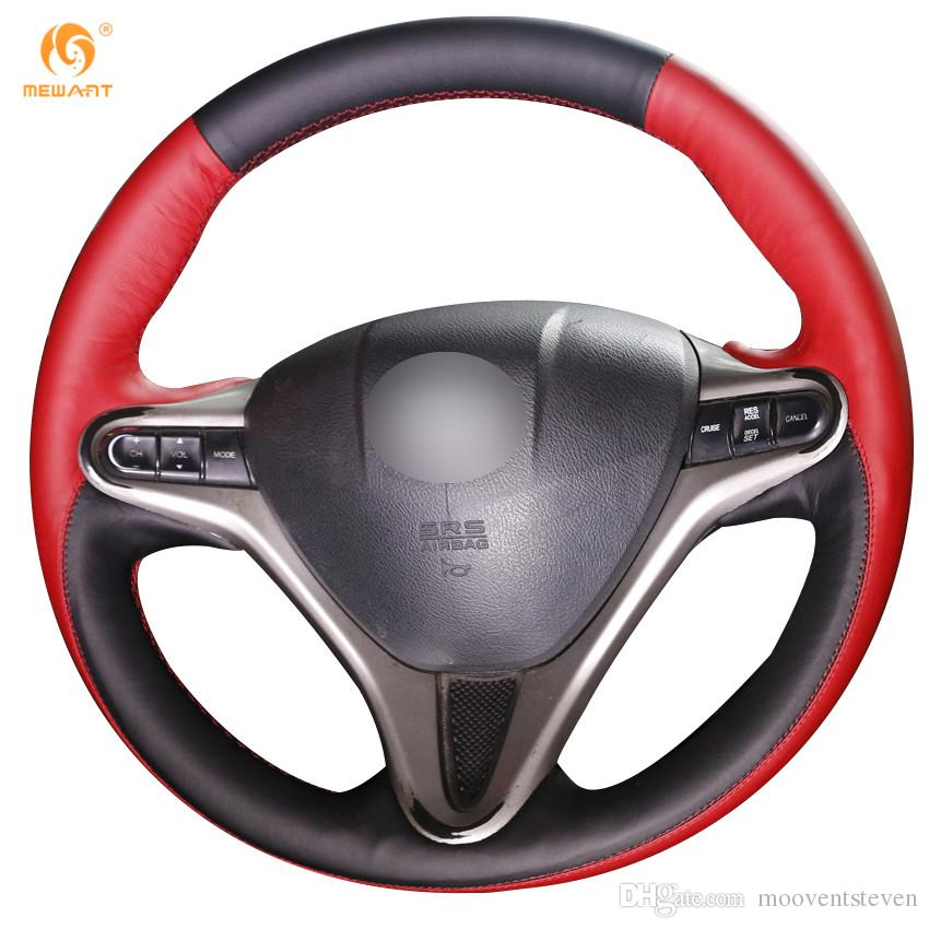 Mewant Black Red Leather Car Steering Wheel Cover for Honda Civic Old Civic 2006-2011