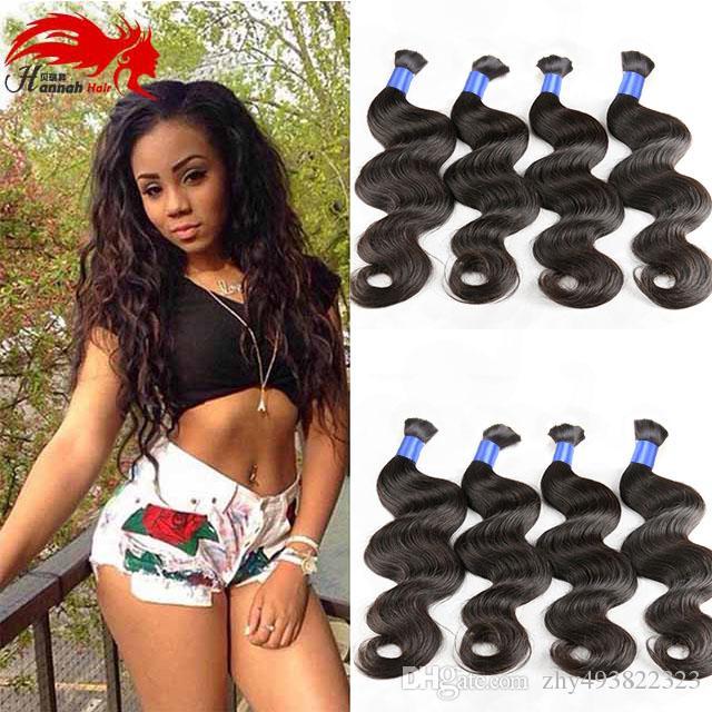 Hannah product Top Quality Micro mini Braiding Bulk Hair No Attachment Peruvian Body Wave 3pcs Human Hair Bulk Buy