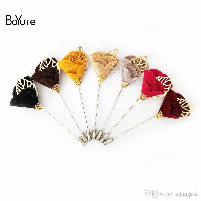 BoYuTe 10Pcs Lapel Flower Pin Wholesale 11 Colors Fashion Men Women Brooch for Formal Dress Wedding Jewelry