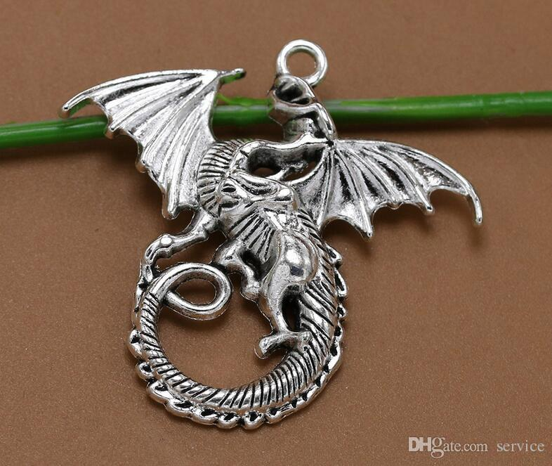 100 pcs / lot 43 * 46mm Antique Argent Dragon Charmes Pendentif DIY Résultats de bijoux composants charmes 2017 Vente Chaude