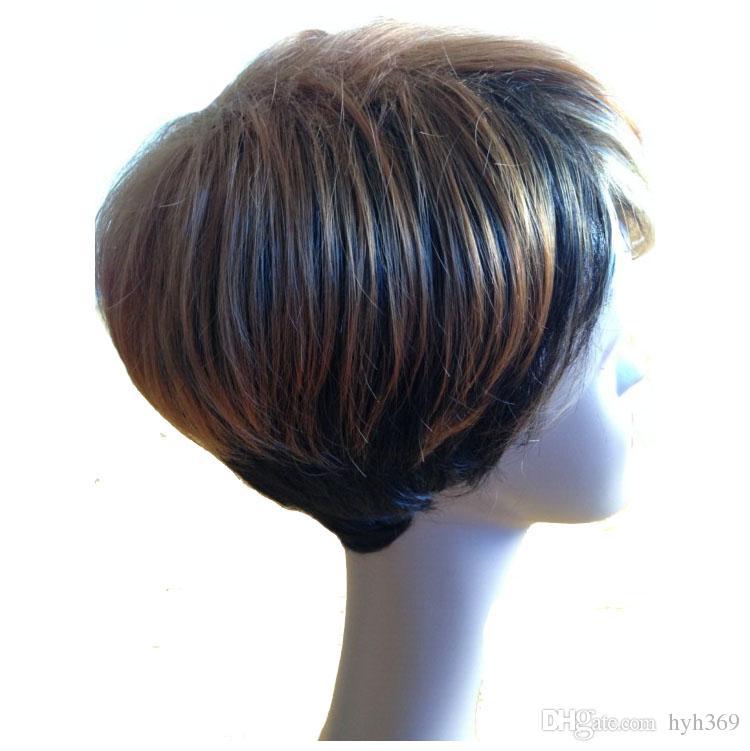 Großhandel Ombre Kurze Perücken Für Schwarze Frauen Schwarz Verwurzelt Seite Pony Blonde Haare Highlights Afroamerikaner Haar Perücken Natürliche