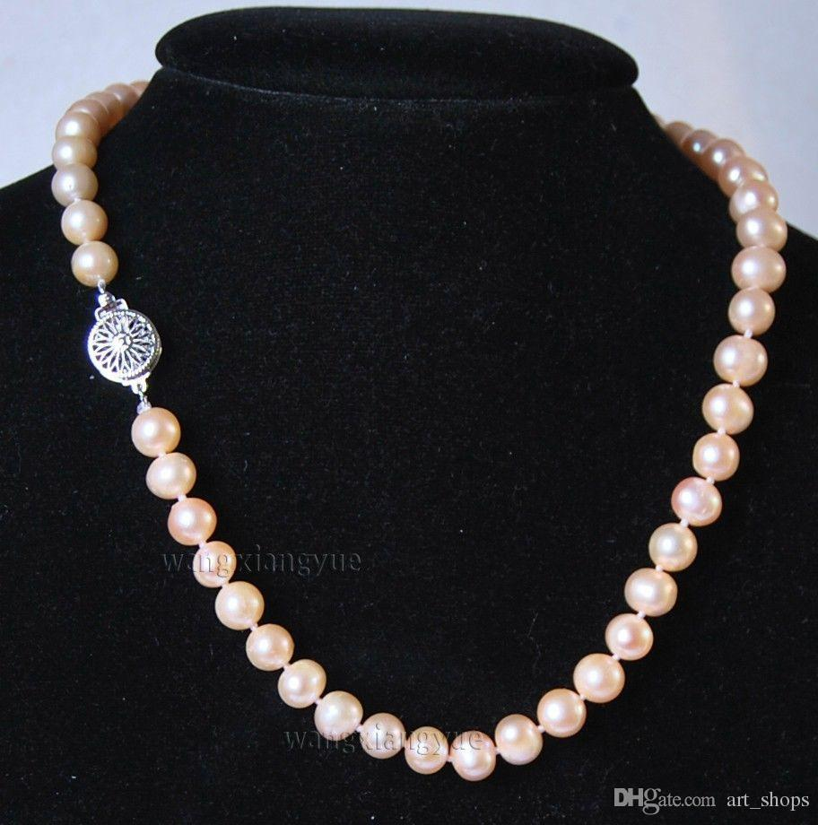 2017 nouveau Charmant! 8-9MM Rose Naturel Akoya Collier de Perle de Culture 18 ""