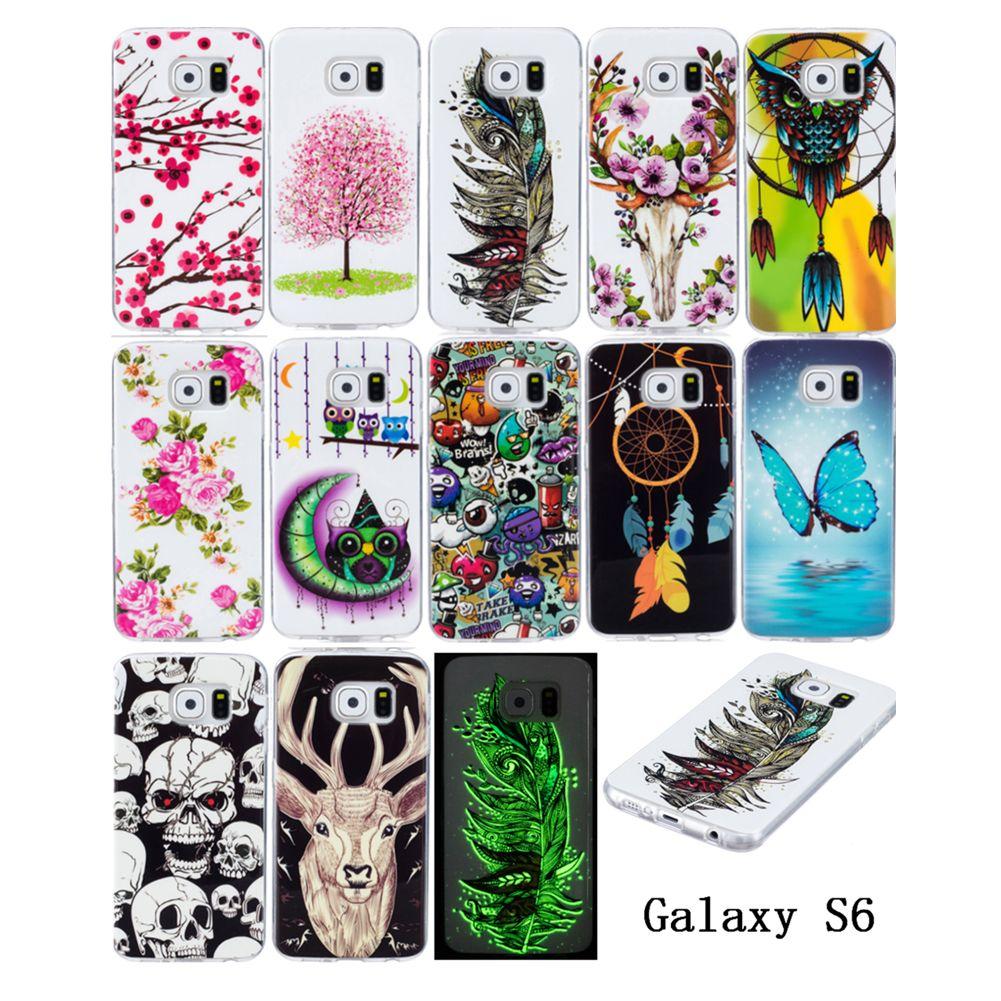 Samsung Galaxy S6ケースクールNoctilucent発光明るいケースカバーバタフライ花フクロウ羽シカディア