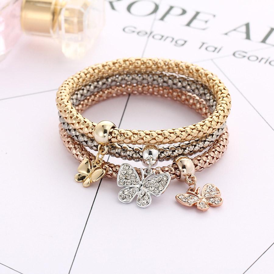 Classics explosion proof three colors suit women elastic rhinestones butterfly chain diamond pendant gold silver rose gold bracelet