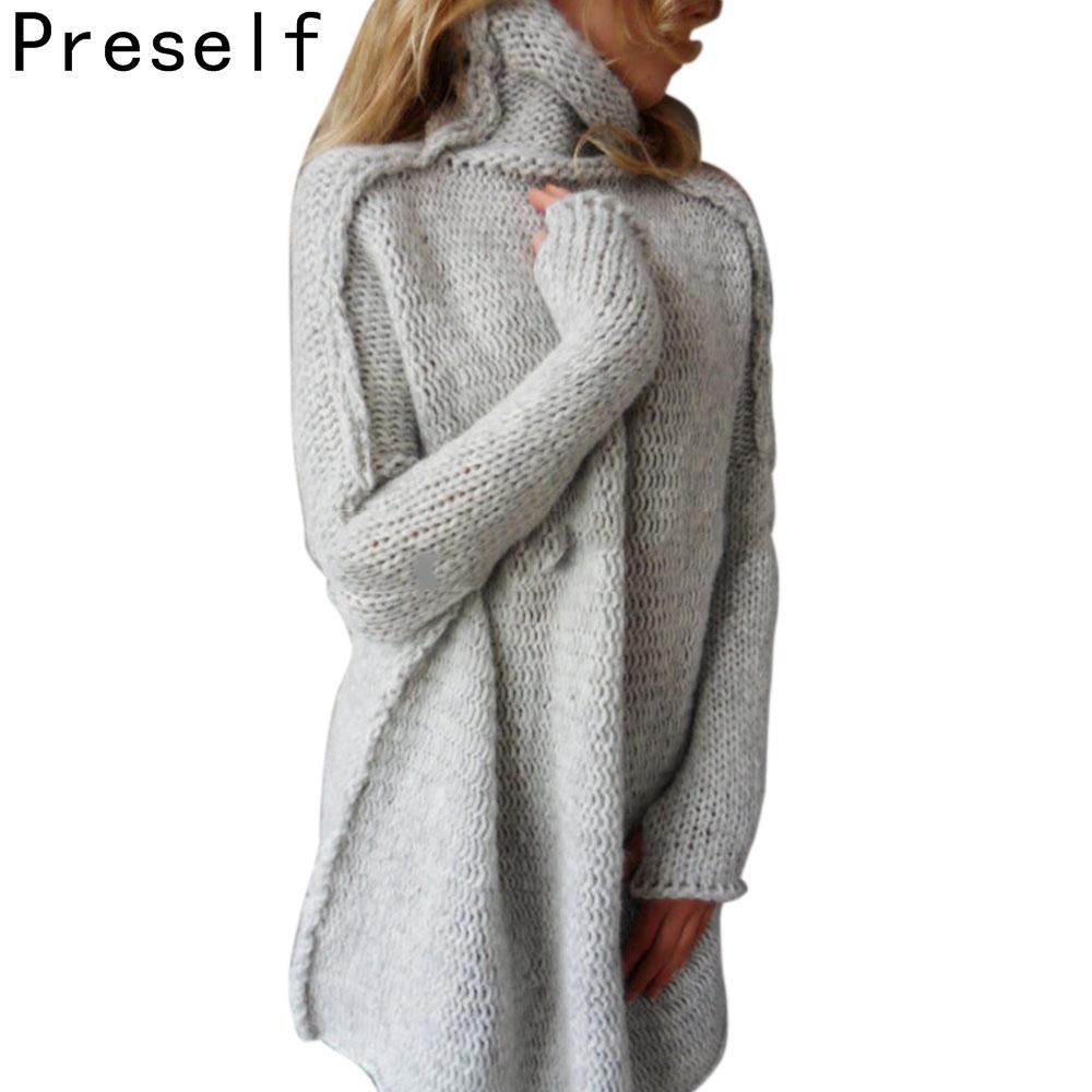 2017 Preself Autumn Winter Warm Women Knitted Sweater Cowl Neck ...