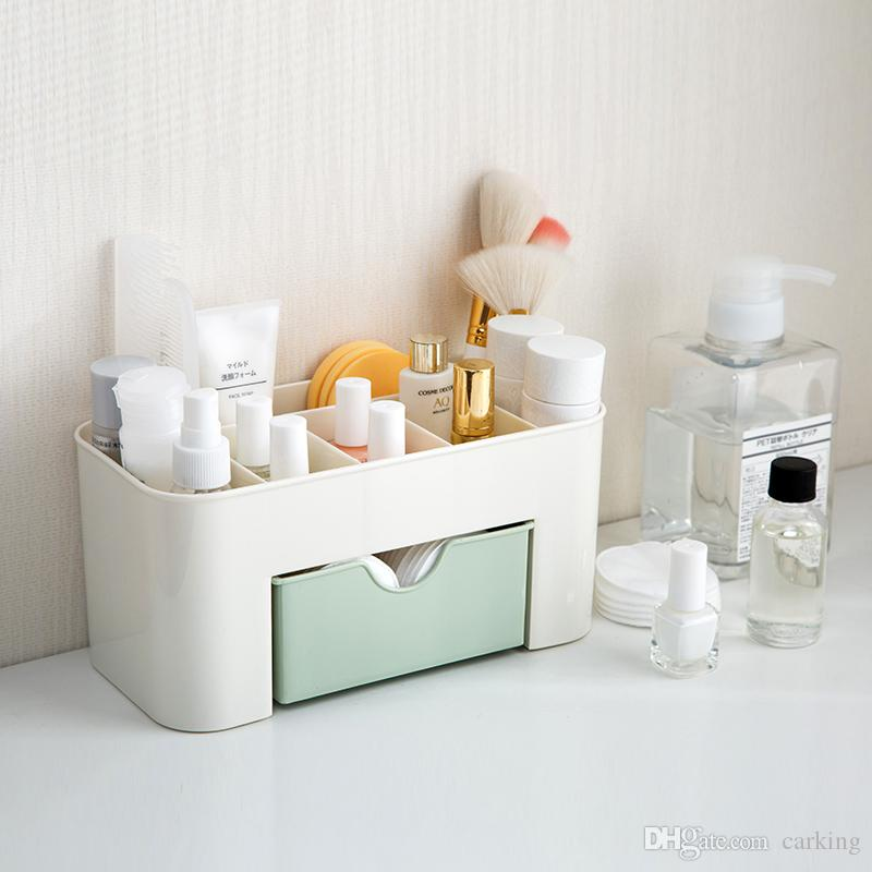 Drawer Type Cosmetics Storage Box, Makeup Brushes Boxes, Tabletop Jewelry Skin Care Products Compartments Dressings Box