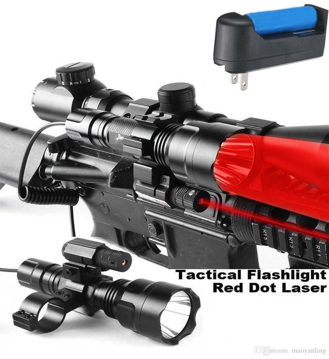 Tactical Hunting Rifle Red Laser Sight Dot Scope With Battery/&Charge w// Mounts
