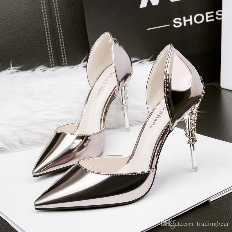 Bridesmaid Wedding Shoes Prom Party High Heels Flower Carved Patent PU Leather Metal Color D'Orsay Pumps Size 34 to 39