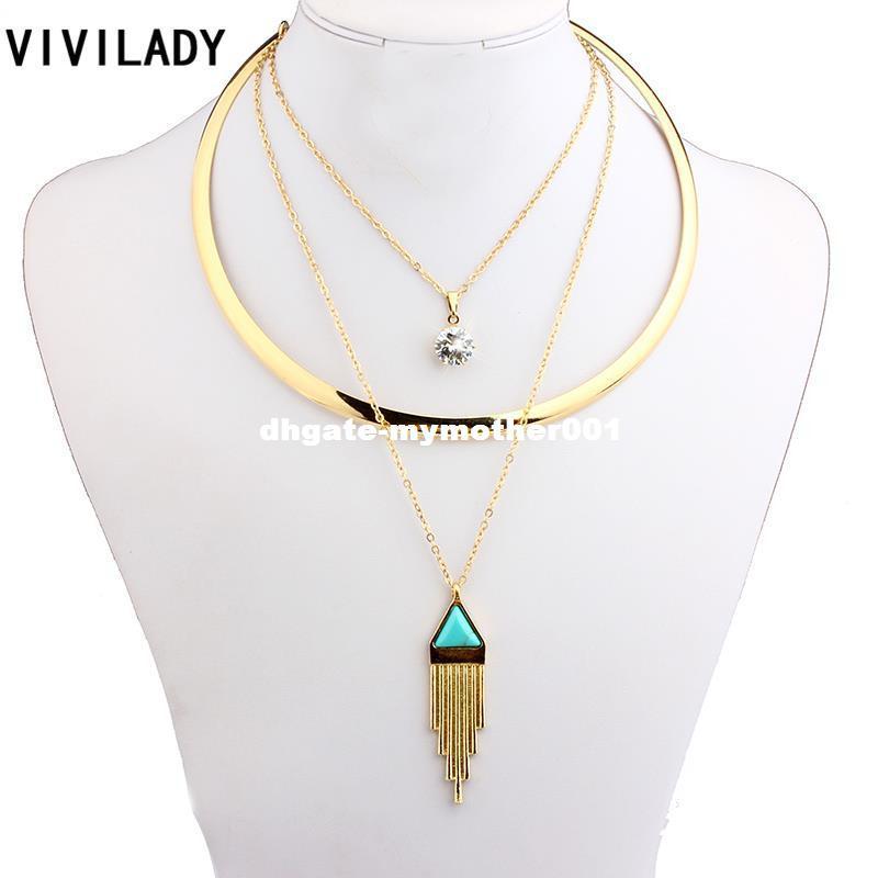 VIVILADY Moda Chapado En Oro Cadena de la Capa de Metal Piedras Geométricas Collares Mujeres Resina Turquesa Joyería de Aleación de Zinc Bohemio