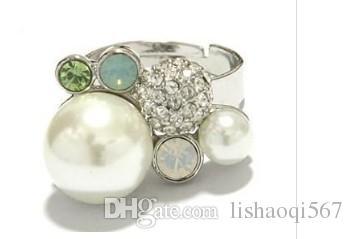 mais cor diamante pérolas inlay pérola anéis da senhora todo o tamanho (xysppfh) yr4te