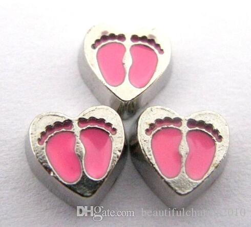 20 قطعة / الوحدة الوردي القدم طباعة القلب العائمة المدلاة سحر صالح للعيش الذاكرة العائمة المدلاة هدية للأصدقاء
